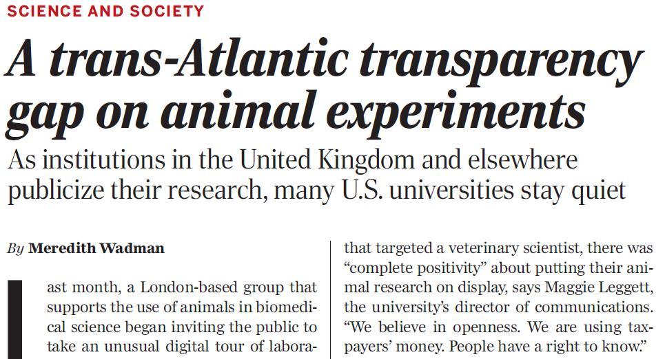 Science Magazine discusses the transparency surrounding animal - london universities list