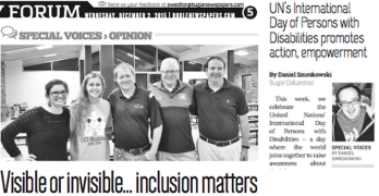 Visible or invisible… inclusion matters (Column in Bugle Newspapers)