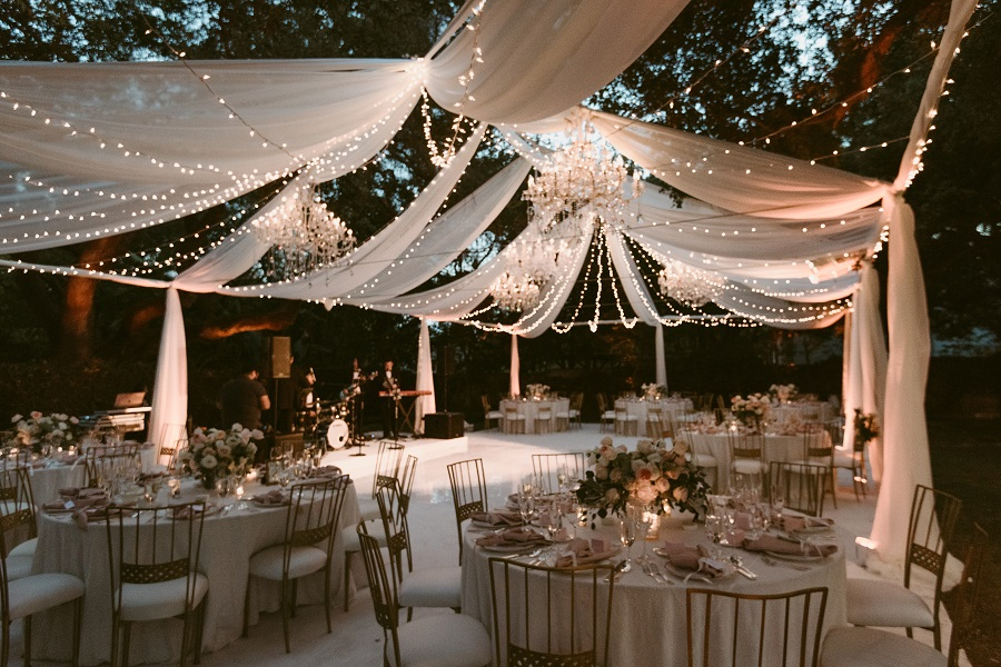 Led String Lighting Outdoor Ryan & Joyce | A Starry Night Wedding Reception | The Lighter Side Special Event Lighting