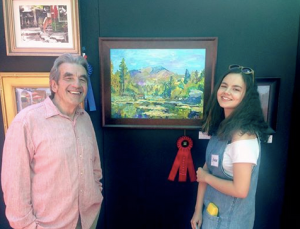 Visual Arts instructor David Reid Marr of Idyllwild Arts Academy and his student Kate Protasova who won this year's plein air contest in Idyllwild. Photo courtesy: Kate Protasova.