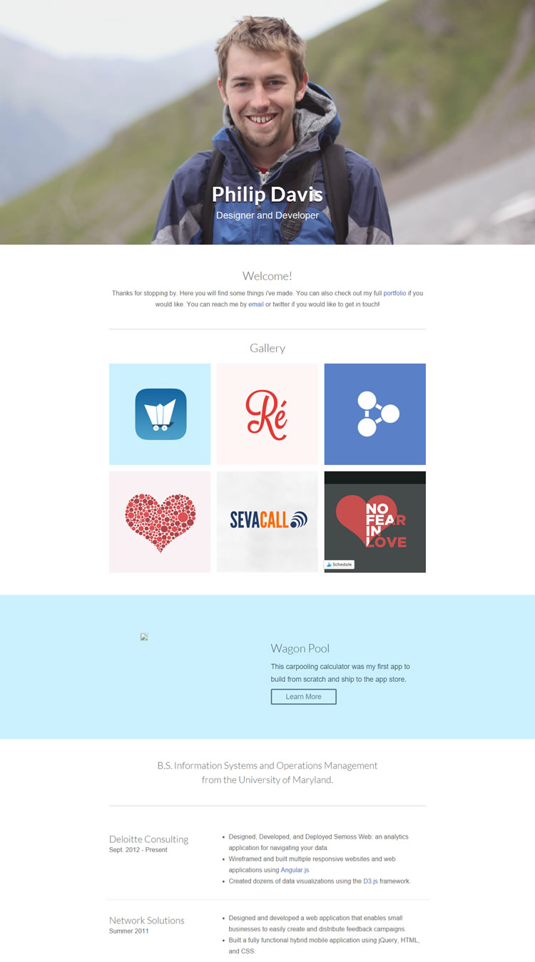cv html css template free