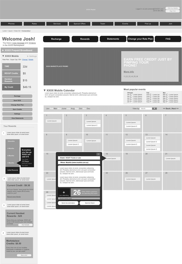 20 Examples of Web and Mobile Wireframe Sketches - account plan templates