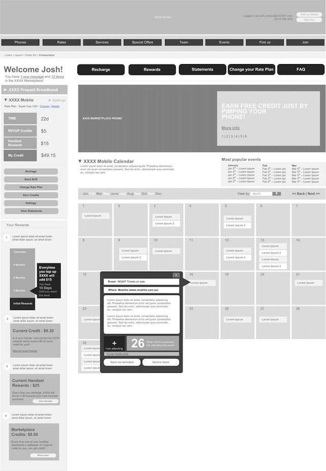 20 Examples of Web and Mobile Wireframe Sketches - half inch graph paper template