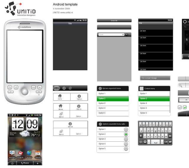 Android GUI Stencils, Kits and Templates - android template