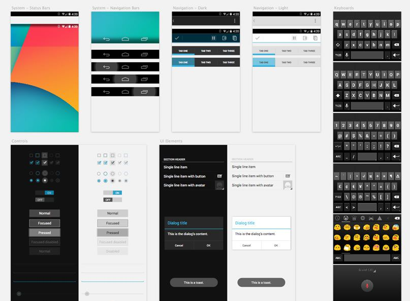 Free Android GUI  Wireframe Templates 2014