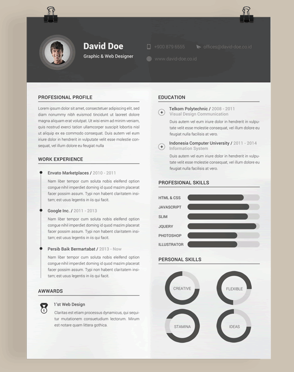 27 Creative Photoshop Indesign Resume Templates 20 Beautiful And Free Resume Templates For Designers