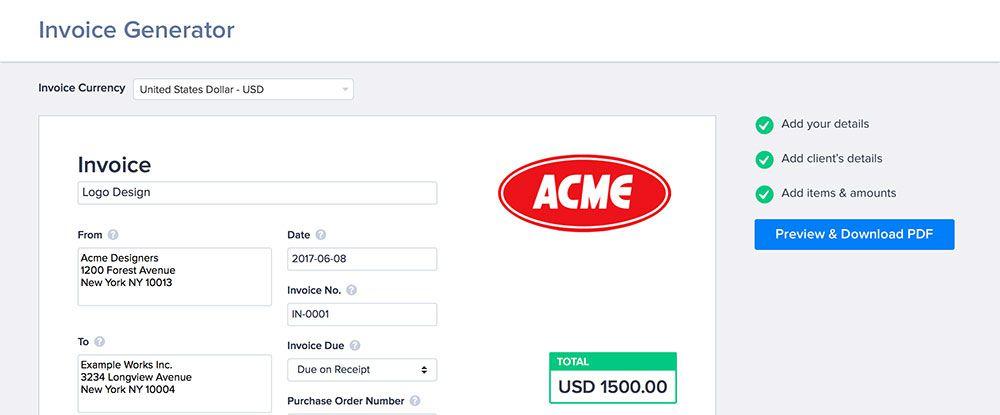 Invoice Generator App | Samples.csat.co