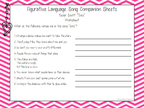 Worksheets Figurative Language Worksheets Middle School ultimate figurative language pack for upper level students worksheet to go with taylor swifts song