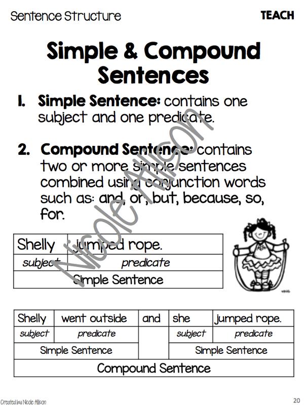 teaching compound sentences  and freebie