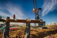 Carpenters preparing to build a concrete form