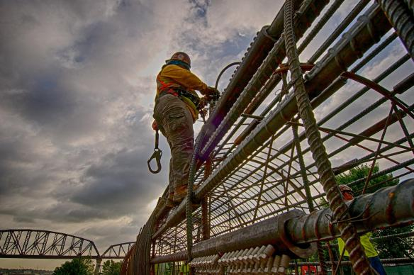 Lisa Lauderdale, Ironworker, Local 70, working on a caisson for the Ohio River Bridges Project