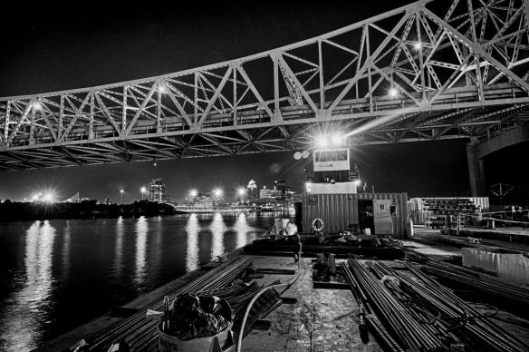 Towboat and Barge Delivering Concrete for Pouring the Eastern Base for the Tower at Pier Four. #3 (Black and White Preset)