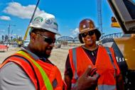 Michael Arnold, Safety Manager, and Monique Jones, Operating Engineer