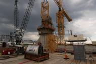 Tower Crane at Pier 5 of Ohio River Bridges Project as the erecting of the tower crane begins.