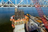View of the western tower of the Ohio Rover Bridges Project during construction 2014.