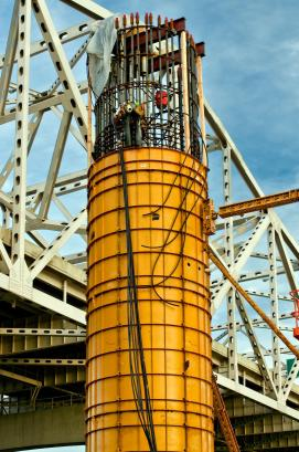 Carpenters Installing Cooling Lines for a Pier on The Ohio River Bridges Downtown Span