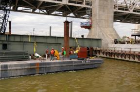 The Structural Steel Gang gears up to place the first Structural Girders in place for the Downtown Span of the Ohio River Bridges Project in Louisville, Kentucky.