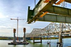 View of Towers for Pier Four of the Ohio River Bridges Project as seen from just below the edge girder on Tower Five