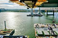 Looking south into Kentucky from beneath the bridge deck on Tower Five of the Ohio River Bridges Project in Louisville, Kentucky.
