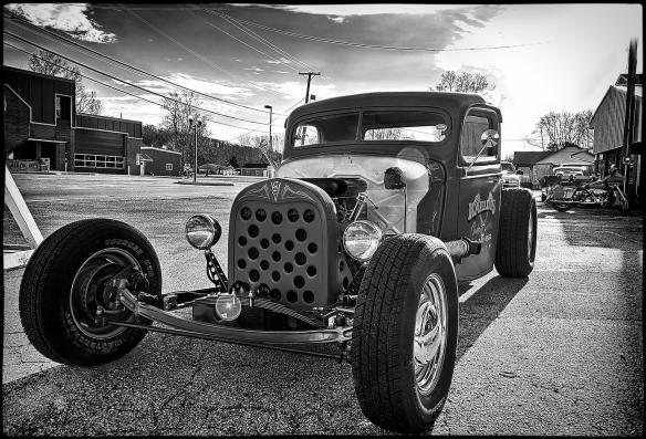 Rat rod pickup truck in Black and White