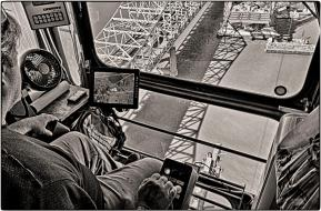 Marcus Jones at work in Tower Crane. B&W Version