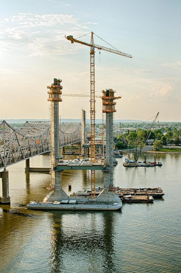 Progress being made on the Downtown Span of the Ohio River Bridges Project as seen from the eastern tower of Tower Three.