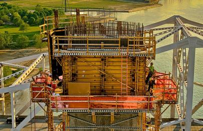 Carpenters placing concrete forms for the western tower of Tower Three of the Downtown Span of the Ohio River Bridges Project in Louisville, KY.