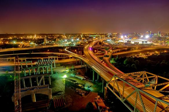 Louisville's spaghetti junction at night from atop the western tower on pier three of the Ohio River Bridges Project.