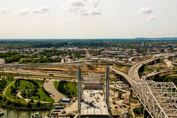 Looking south over the Kentucky approach to the Downtown Span of the Ohio River Bridges Project.