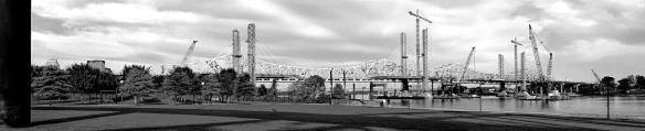 Panorama of The Ohio River Bridges Project Downtown Span at sunup. onOne Perfect B&W Version