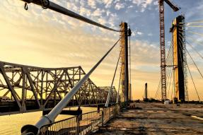 Sunset on the Downtown Span of the Ohio River Bridges Project,