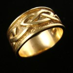 Hand carved celtic knot wedding ring male solid 18ct gold