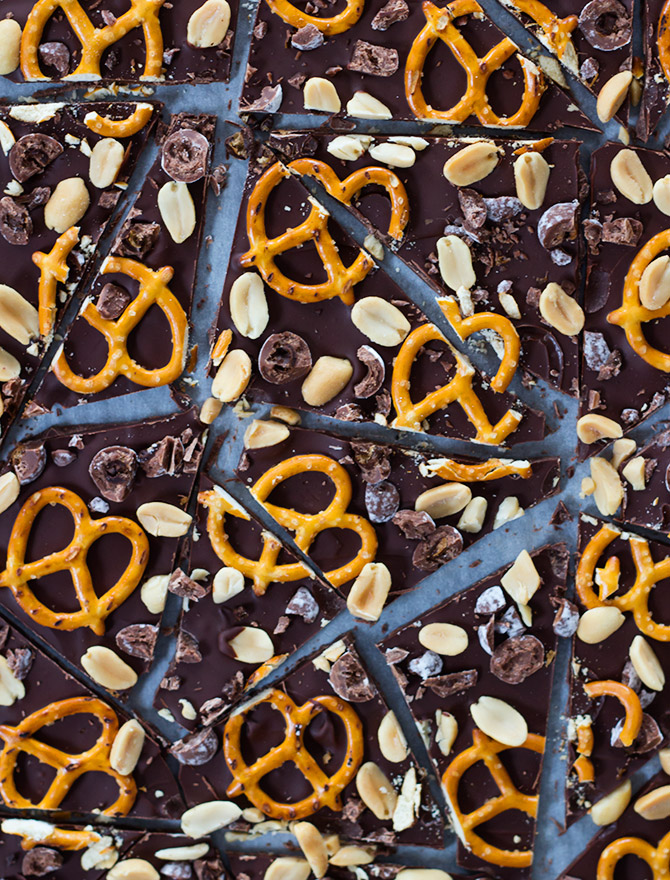 Chocolate Peanut Pretzel Bark