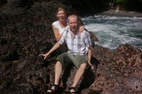 Elliott and Lara before the wave hits