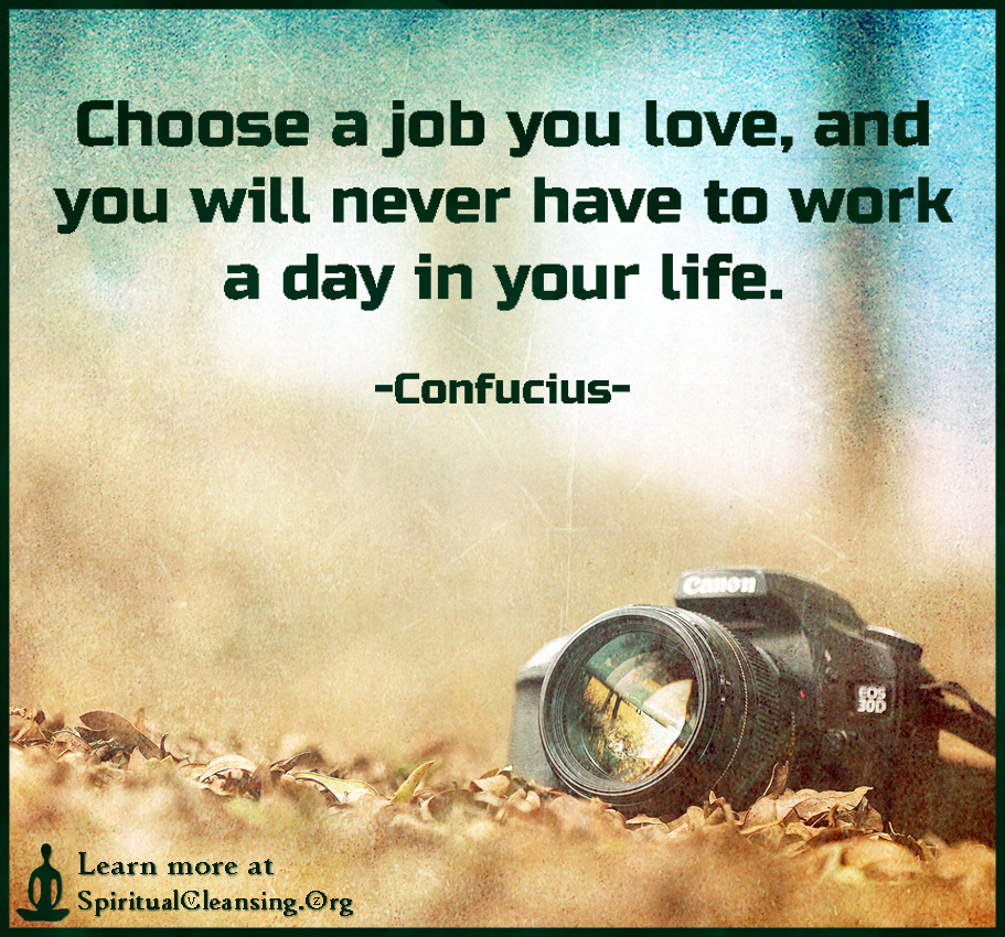 Choose a job you love, and you will never have to work a day in your