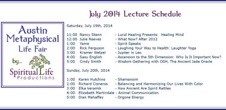 2014 April Metaphysical Fair Lecture Schedule