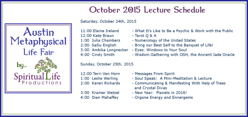 2015 October Metaphysical Fair Lecture Schedule