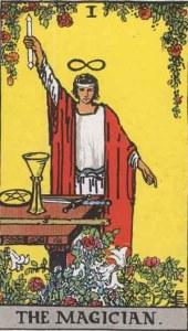 Rider Waite Tarot Deck - The Magician - source Wikipedia Commons