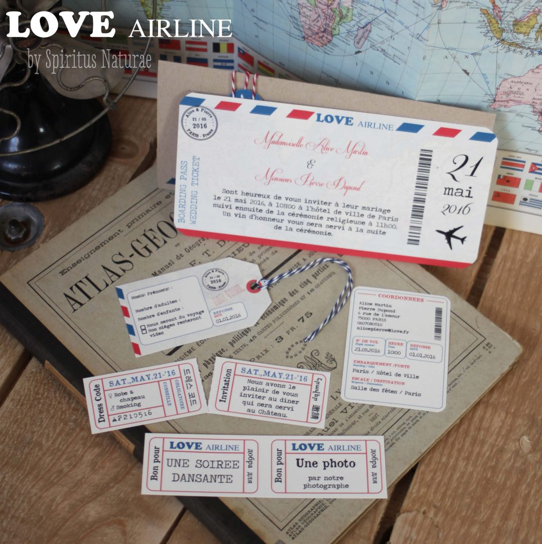 Billet Vol Faire Part Love Airline Billet D Avion