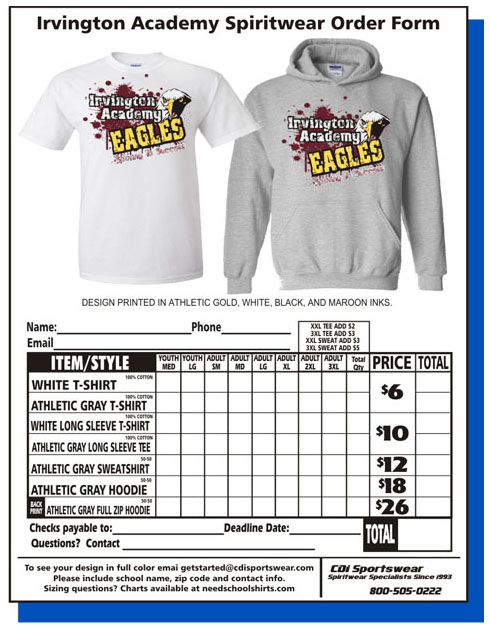 school spirit wear order form template - Goalgoodwinmetals