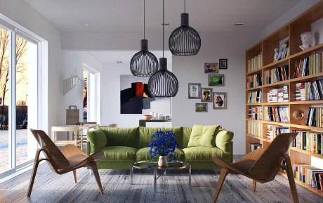 Ένας πράσινος άνετος καναπ� ς προσφ� ρει στιλ σε � να σαλόνι