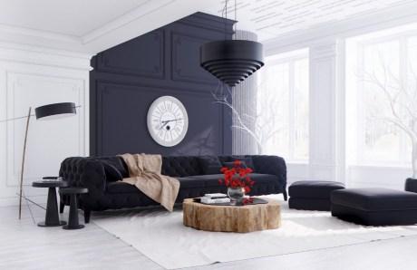Σε αυτό το σαλόνι το λευκό σπάει σε διάφορα σημεία με το μαύρο δημιουργώντας � να ωραίο μοντ� ρνο αποτ� λεσμα