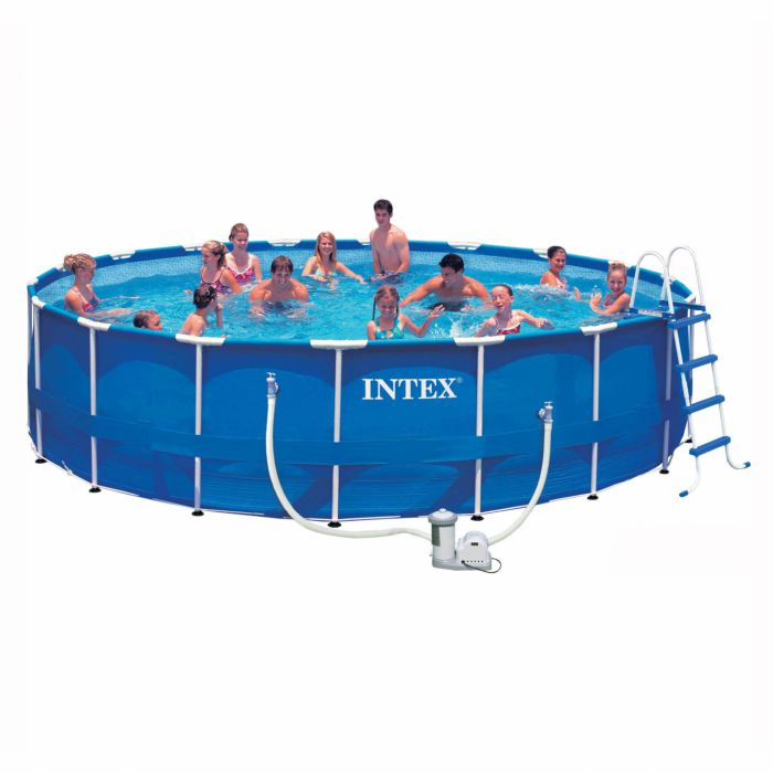 "Pool Frame Rund Intex Metal Frame Pool Package 18ft X 48"" - 28252 - Metal"
