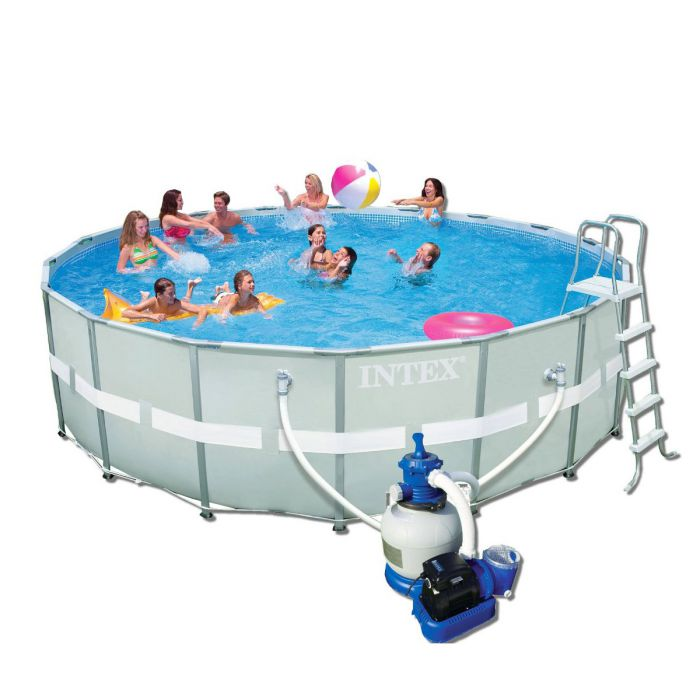 "Pool Frame Rund Intex Ultra Metal Frame Round Metal Pool 18ft X 52"" With"