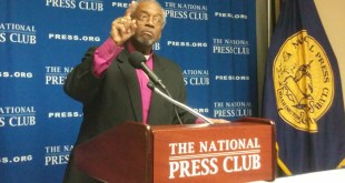 "Episcopal Church Presiding Bishop Michael Curry, speaking to reporters at a news conference at the National Press Club, said the Anglican Communion's recent censure of his denomination was a ""very specific, almost surgical approach"" to their disagreements over LGBT issues. Religion News Service by Jerome Socolovsky"