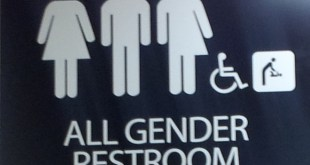 "Pictogram of an all gender restroom at a US college. ""Anyone can use this restroom regardless of gender identity or expression"" Wikipedia photo by AxelBoldt"