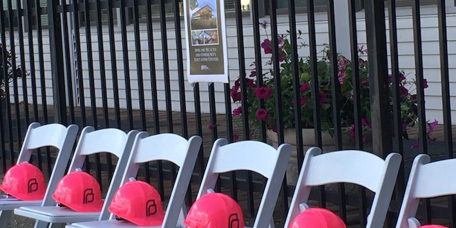 Planned Parenthood hard hats wait for donors at a ground breaking ceremony/Tracy Simmons - SpokaneFAVS