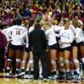 Team bonding has helped Gopher volleyball succeed this season; Daly Santana is number one, second from right.
