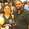 Girls MVP Andrayah Adams with Derek Reuben. (Photo by Mitchell Palmer McDonald)