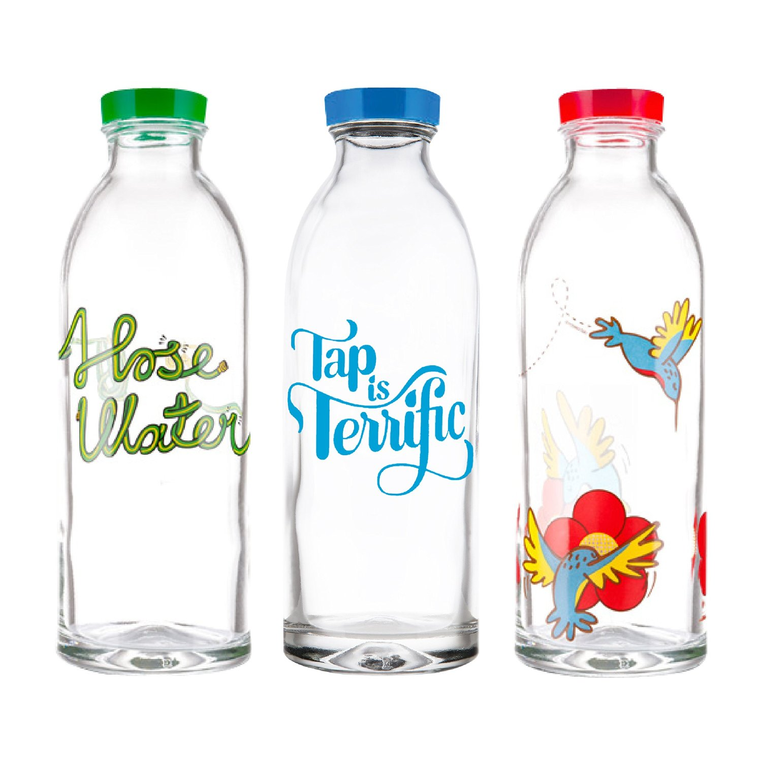 Cute Glassware Reusable Glass Water Bottles With Cute Designs